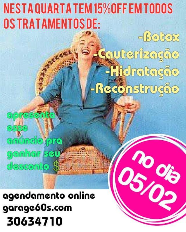Nesta quarta tem desconto nos tratamentos, aproveite pra cuidar, 15%off, #garage60s #descontodequarta Nosso agendamento é on-line garage60s.com