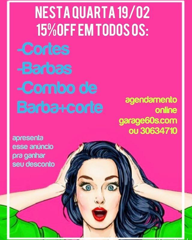 Quer cortar com desconto? Aproveita, é nessa quarta...#garage60s #descontodequarta Nosso agendamento é online garage60s.com